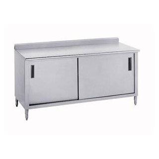 "14 Gauge Advance Tabco CF SS 306 30"" x 72"" Work Table with Cabinet Base and 1 1/2"" Backsplash"
