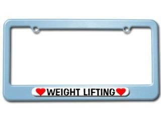 Weight Lifting Love with Hearts License Plate Tag Frame   Color Light Blue Automotive