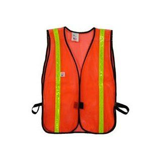 Iron Horse Standard PVC Coated Safety Vests in Orange   1 Inch Lime Stripes