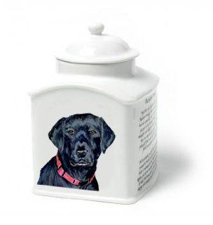 Black Labrador Retriever Dog Van Vliet Porcelain Memorial Urn