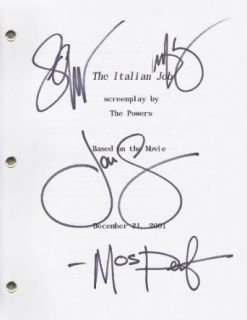 Mark Wahlberg, Jason Stathan, Seth Green, and Mos Def Autographed/ Hand Signed The ITALIAN JOB Script    Mark Wahlberg Collectibles & Fine Art
