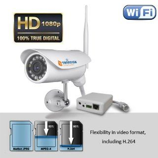 TriVision NC 336W HD 1080P Home IP Security Camera Outdoor Waterproof Wireless with Facial Recognization in 15 to 30 Feet Suggested Surveillance Distance and Install in 3 Steps with Our Free Dedicated Apps on iPhone, iPad, Android Smart Phone, Kindle Fire