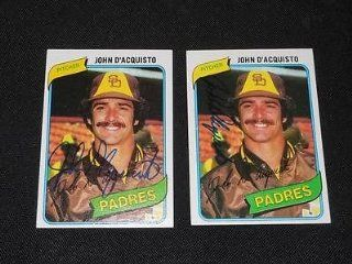 San Diego Padres John D'Acquisto Signed Autograph 1980 Topps Card #339 VINTAGE Q Sports Collectibles