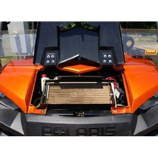 Radiator Relocation Kit For Polaris Rangers   Black Color Hood Automotive
