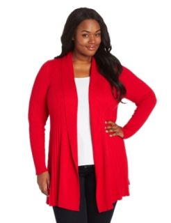 Leo & Nicole Women's Plus Size Long Sleeve Pleat Open Cardigan, Ric Rac Red, 1X Clothing
