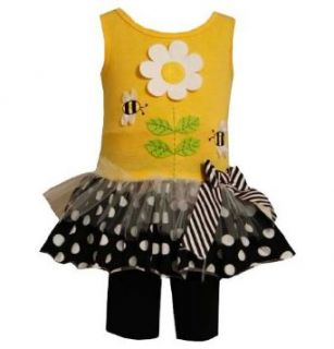 Bonnie Baby Girls Infant Bumble Bee Daisy Flower Dress / Shorts Outfit Set, Yellow, 24 Months Clothing