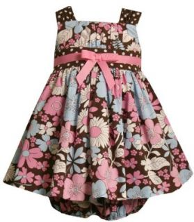 Bonnie Jean Baby Infant Girls 12M 24M Brown Pink Blue Floral Print Dress Clothing