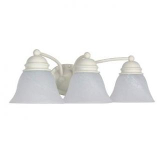 Nuvo 60/354 Empire Three Light Vanity with Alabaster Glass, Textured White   Vanity Lighting Fixtures