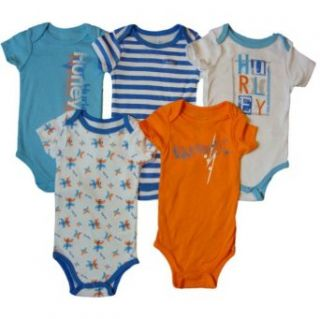 Hurley Baby Boys Short Sleeve Bodysuits, Blue/Orange (6 9 Mos) Clothing