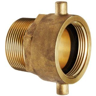 "Moon 363 1511561 Brass Fire Hose Adapter, Pin Lug Swivel, 1 1/2"" NPSH Swivel Female x 1 1/2"" NPT Male"