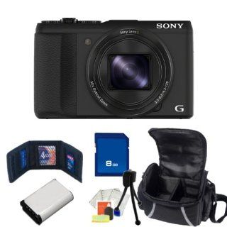 Sony DSC HX50V/B 20.4MP Digital Camera with 3 Inch LCD Screen (Black). Includes 8GB Memory Card, Memory Card Wallet, Extended Life Replacement Battery, Table Top Tripod, LCD Screen Protectors, Cleaning Kit & Carrying Case  Point And Shoot Digital Cam