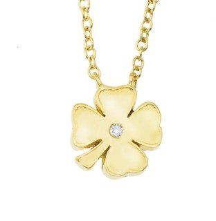 14k Yellow gold diamond four leaf Clover pendant necklace Jewelry