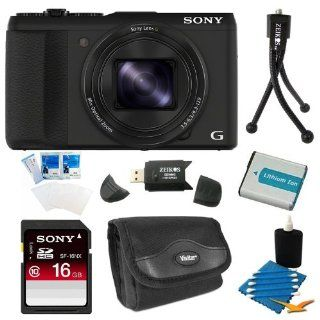 Sony DSC HX50V/B DSC HX50, HX50, DSCHX50 20.4MP Digital Camera with 3 Inch LCD Screen (Black) Bundle with 16GB Class 10 High Speed SD Card, Spare Battery, SD Card Reader, Table top Tripod, Camera Case, LCD Screen Protectors, and 3 Piece Lens Cleaner Camer