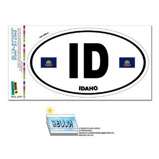 Idaho State Flag   ID Euro Oval SLAP STICKZ(TM) Automotive Car Window Locker Bumper Sticker Automotive