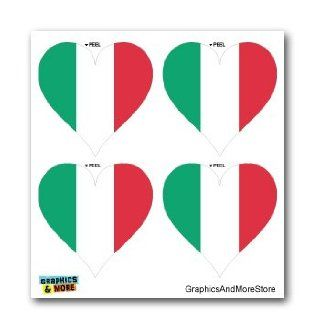 Italy Italian Flag Heart   Set of 4   Window Bumper Laptop Stickers Automotive