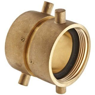 "Moon 379 2522521 Brass Fire Hose Adapter, Swivel, 2 1/2"" NH Female x 2 1/2"" NH Female"