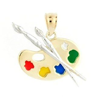 14K Yellow Gold Artist Palette Charm With 14K White Gold Paint Brushes & Colored Enamel Jewelry