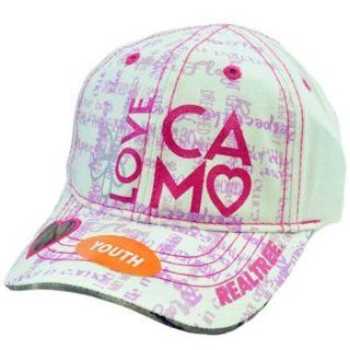 Team Realtree Youth Kids Girls Heart Camo White Glitter Pink Purple Love Hat Cap Sports & Outdoors