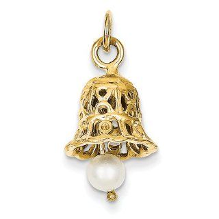 14k Wedding Bell with Pearl Charm   Measures 22.5x12mm   JewelryWeb Jewelry