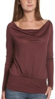 7 For All Mankind Women's Long Sleeve Lightweight Cashmere Jersey Top in Bordeaux, Bordeaux, X Small
