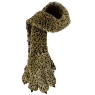 Critter Animal Faux Fur Scarf with Paw  Leopard