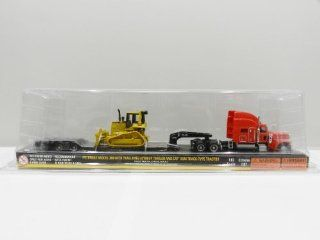 NORSCOT 187 Scale SET of 3 PETERBILT MODEL 389 with TRAIL KING LOWBOY TRAILER & CAT EQUIPMENT Toys & Games