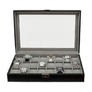 Watch Box Large 24 Mens Black Leather Display Glass Top Jewelry Case Organizer   Men S Watch Case