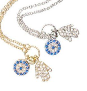 WIIPU hand evil eye turkish evil eye jewelry women crystal necklace(wiipu B396) (golden) Jewelry