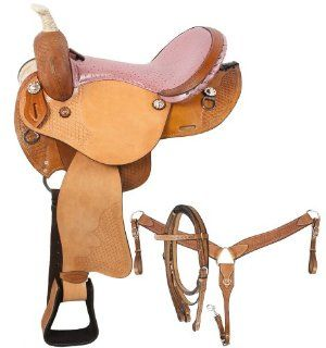Barrel Racing Pink Ostrich Horse Western Saddle Tack 14 16