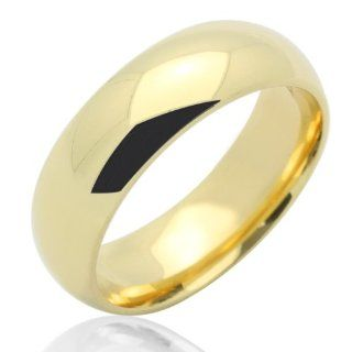 14K Gold Wedding Band Women's 6MM Plain Comfort Fit Yellow Gold Ring For Size 5 Jewelry
