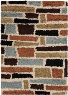 7.8' x 9.8' Asymetrical Bricks Multicolored Shed Free Plush Pile Area Throw Rug   Machine Made Rugs