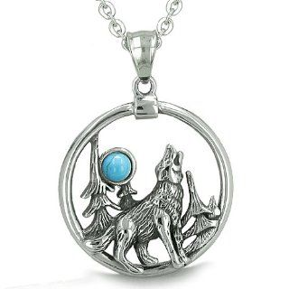 "Amulet Medallion Howling Wolf and Moon Forces of Nature Positive and Protection Powers Man Made Turquoise Pendant on 18"" Necklace Best Amulets Jewelry"