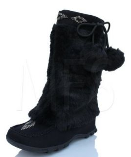 Womens Mukluk Fur Suede Mocassin Flat Boots Black Soda Sku size 5.5 10 7 Shoes