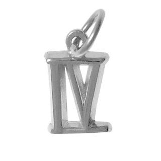 "Roman Numeral Pendant for All Occasions; Anniversary, Birthdays, Milestones, #407.4, 9/16"" Tall w/Loop, Ster. #IV Jewelry"