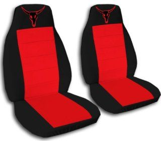1997 Jeep Wrangler TJ seat covers. One front set of seat covers. Black and red seat covers with a red bull skull. Automotive