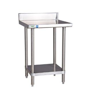 "Regency 16 Gauge All Stainless Steel Commercial Work Table   24"" x 24"" with Undershelf and 4"" Backsp   Utility Tables"