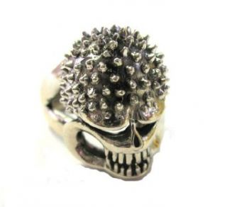 Men's Sterling Silver Slull Ring for Biker and Motorcycle Riders (12) Clothing