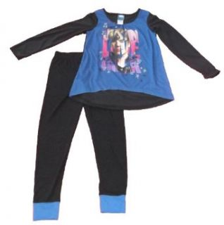 Justin Bieber Girls 2pc Pajamas Blue/Black Size 6/7 Clothing