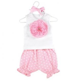 Mud Pie Baby Buds Flower Cotton Tank Top and Bloomer Shorts Set, Pink, 12   18 Months Clothing