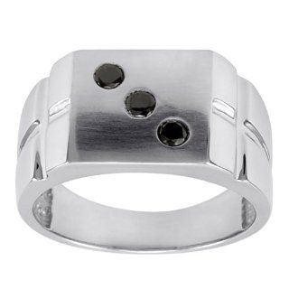 "Men's 10k White Gold Black Diamond ""Lucky #3"" Dice Ring (1/4 cttw), Size 9 Jewelry"