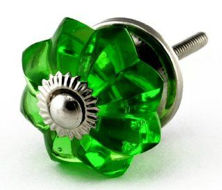 Emerald Green Glass Cabinet Knobs 4pc Cupboard Drawer Pulls & Handles ~ K60 Old Emerald Green Melon Style Glass Knobs with Polished Nickel Hardware ~ Glass Knobs, Handles & Pulls for Dresser, Drawers, Cabinets & Vanity