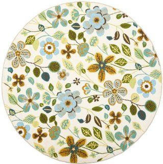 Safavieh FRS429A 4R Four Seasons Collection Indoor/Outdoor Round Area Rug, 4 Feet in Diameter, Ivory   Blue And Orange Rug Indoor