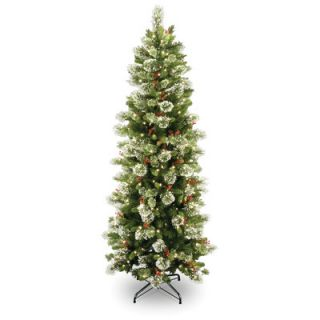 National Tree Co. Wintry Pine 7 6 Green Slim Artificial Christmas