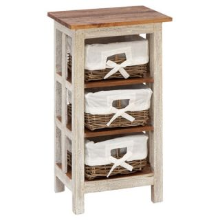 Woodland Imports Antiqued Rattan Wood 3 Drawer Cabinet