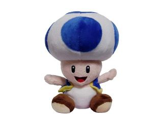 "Nintendo Super Mario Bros. Wii Blue Toad 7"" Plush Doll"