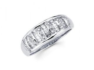 14k White Gold Diamond Channel Set Wedding Dome Ring Band .44 ct (G H Color, SI2 Clarity)