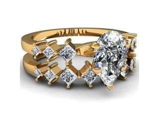 Kite Set Engagement Wedding Rings W Pear Shaped Diamond 1.35 Ct SI1 F Color GIA 14K Yellow Gold Ring Size 3