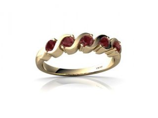 Ruby Ring 14K Yellow Gold Genuine Round