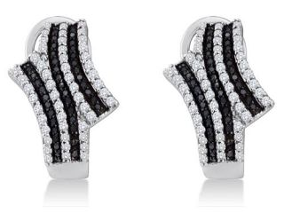 10K White Gold Channel Set Round White and Black Diamond Hoop Earrings    (.94 cttw, G   H Color, SI2 Clarity)