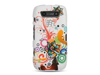 BlackBerry Storm 3/Monza/Torch/9570/9850/9860 White with Autumn Flower Design Crystal Rubberized Case